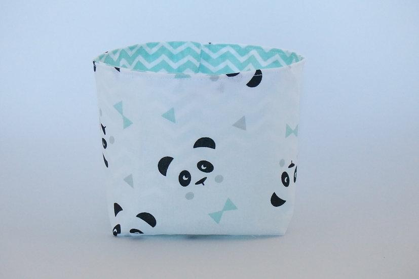 """Corbeille à coton table à langer """"mon petit panda"""" mint, noir et blanc"""