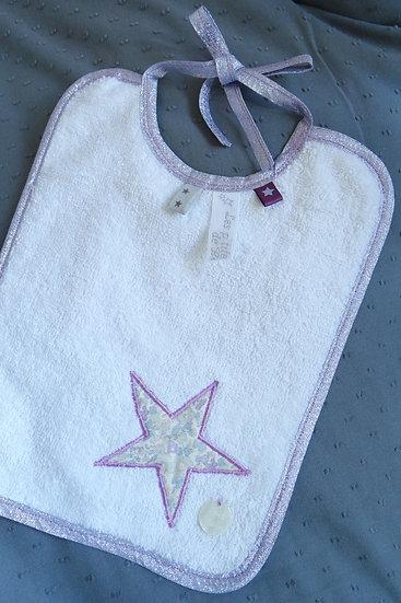 """Bavoir bébé """"étoile brodée"""" Liberty Betsy Ann"""