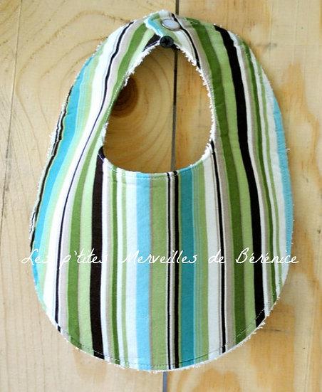 Bavoir bébé + lange bayadère vert, anis, turquoise