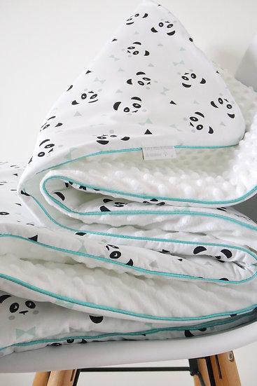 """Grande couverture """"Mon petit panda"""" blanc, noir, mint et gris"""