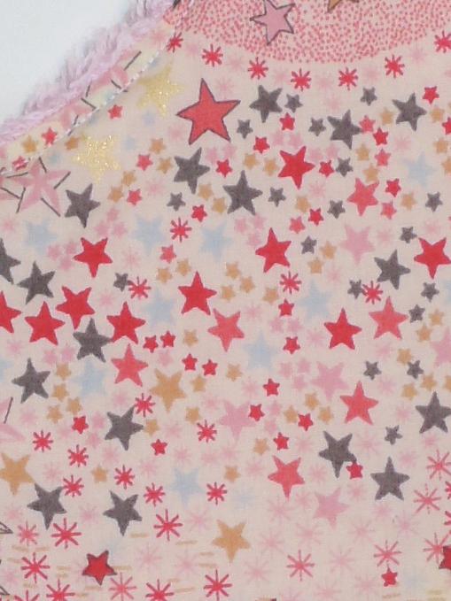 Bavoir bébé bandana Liberty Adelajda étoiles roses gris or exclu japonnais_détails zoom