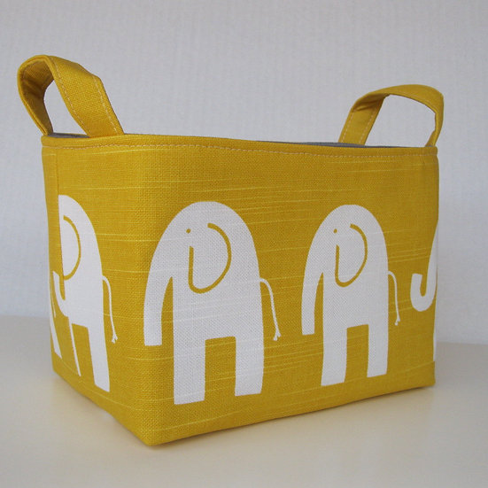 Corbeille de rangement éléphants jaune blanc gris