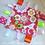 Thumbnail: Doudou étiquettes oiseau et fleurs rouge, fuchsia