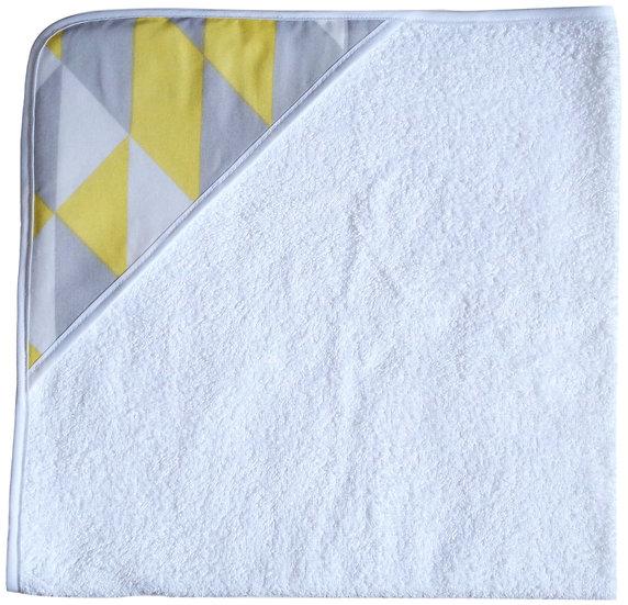 """Cape de bain """"motifs géométriques"""" blanc, jaune"""