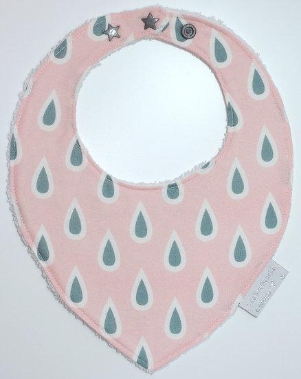 Bavoir bébé bandana rose gouttes d'eau gris blanc