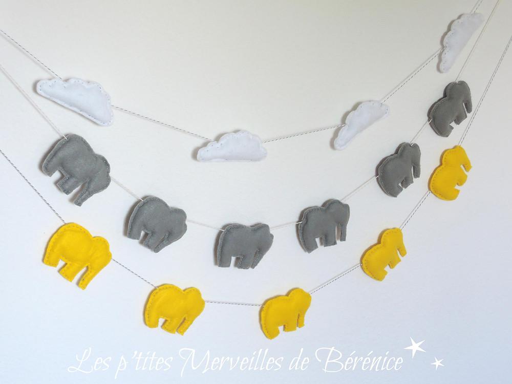 Guirlandes nuages et éléphants, blanc, gris, jaune. Créations :«Les p'tites Merveilles de Bérénice»