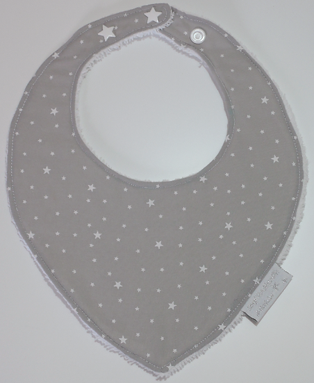Bavoir bébé bandana gris clair à étoiles blanches