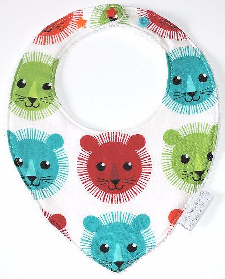 """Bavoir bébé bandana """"Lions"""" multicolore"""
