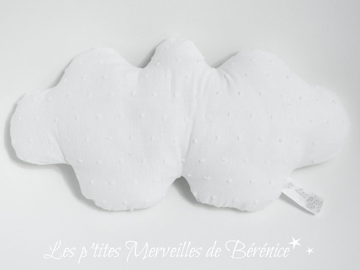 Coussin nuage plumetis de coton blanc