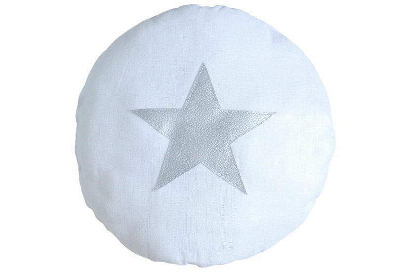 Coussin rond en lin blanc métalisé étoile argent