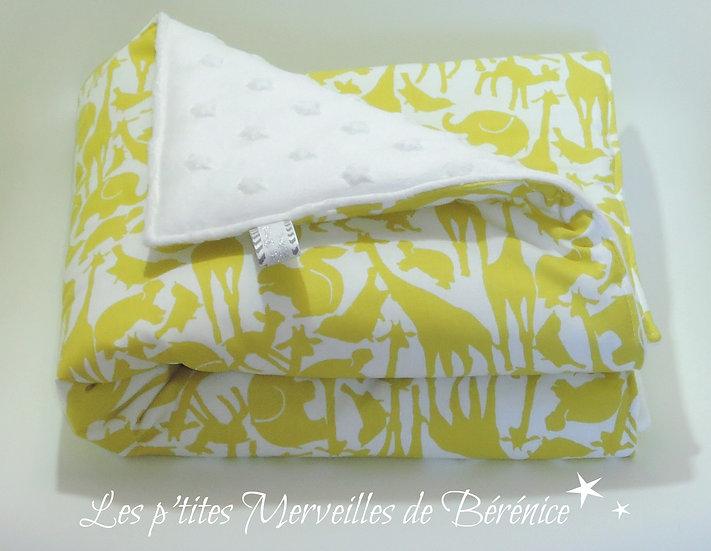 """Couverture bébé """"Jungle"""" & étoiles jaune et blanc"""