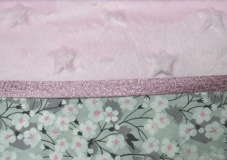 Couverture bébé Liberty gris/rose velours molleton
