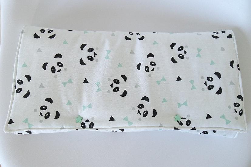 """Tapis à langer nomade molletonné """"Mon petit panda"""" blanc, mint, noir et gris"""