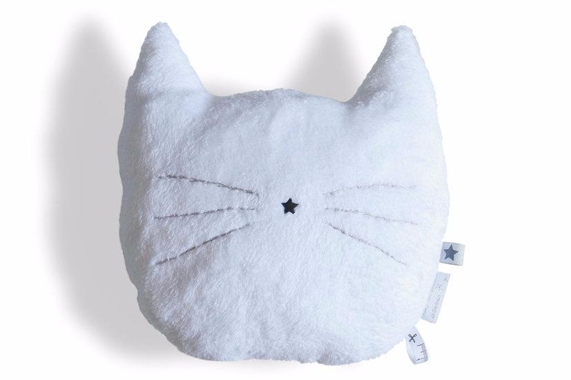 Coussin chat brodé blanc et gris