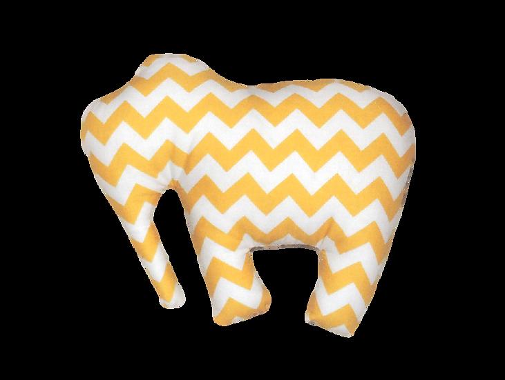 Doudou éléphant jaune et blanc à chevrons