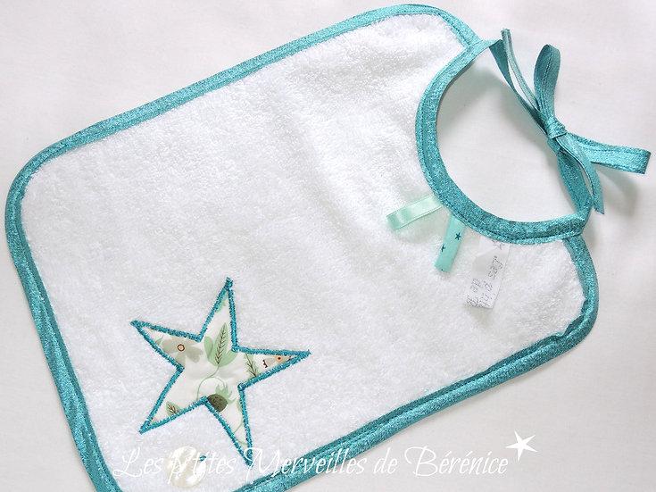 """Bavoir bébé étoile Liberty """"menthe à l'eau"""""""