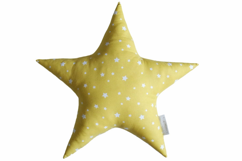 Coussin étoile jaune et blanc éléphant brodé