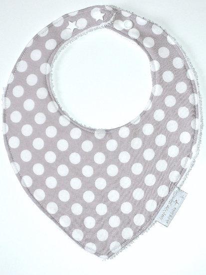Bavoir bébé bandana gris clair à pois blancs