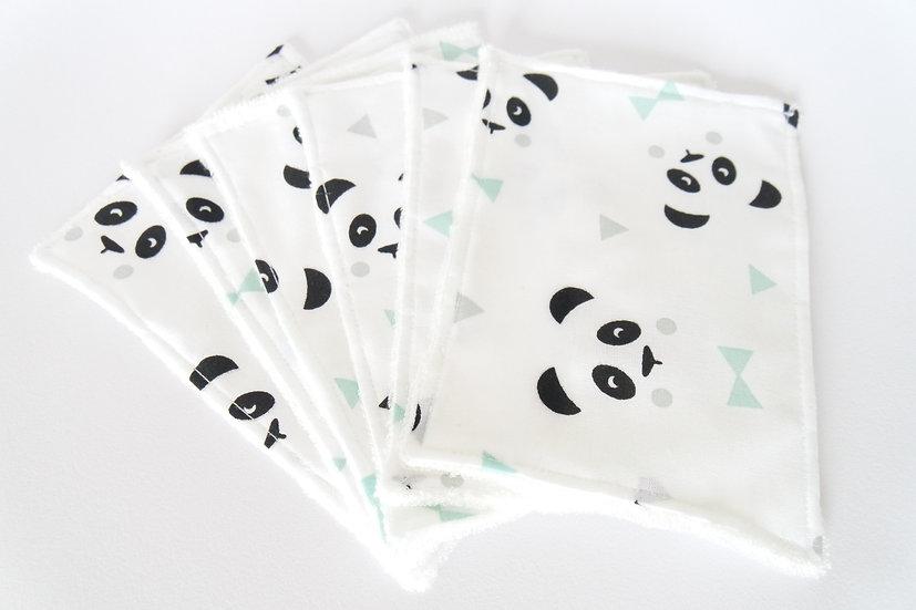 """Lingettes lavables """"mon petit panda"""" mint, noir et blanc et bambou bio"""