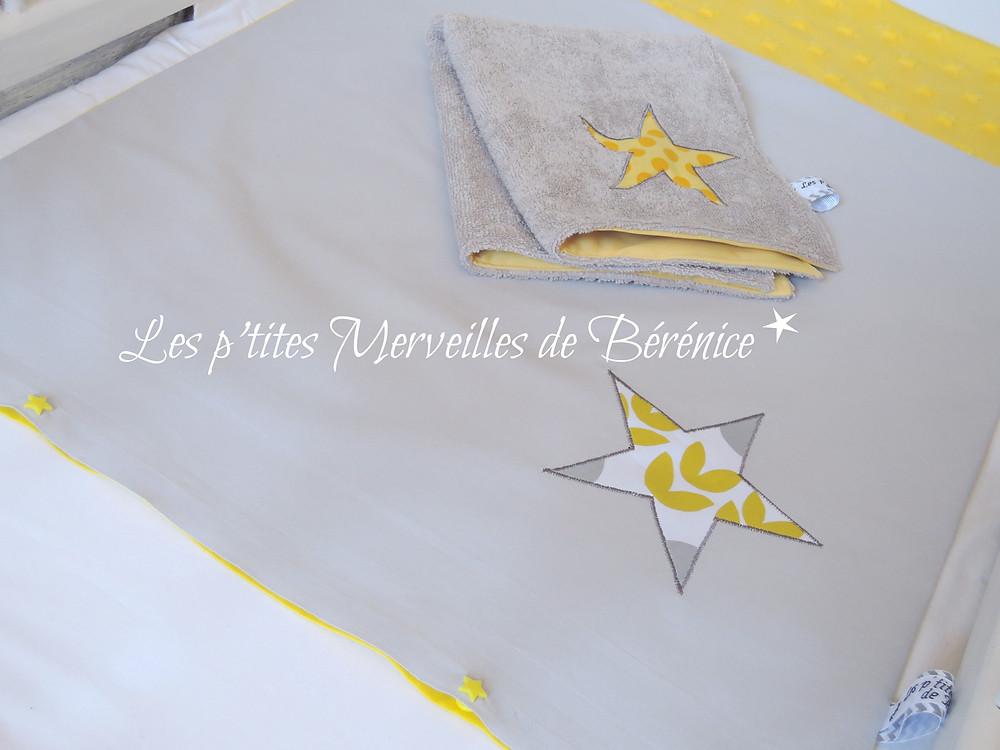 """Housse de matelas à langer """"Les p'tites Merveilles de Bérénice"""""""