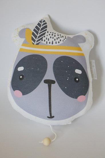 Panda indien Sioux petit coussin musical boîte à musique en coton bio jaune et gris bébé_Les p'tites Merveilles de Bérénice