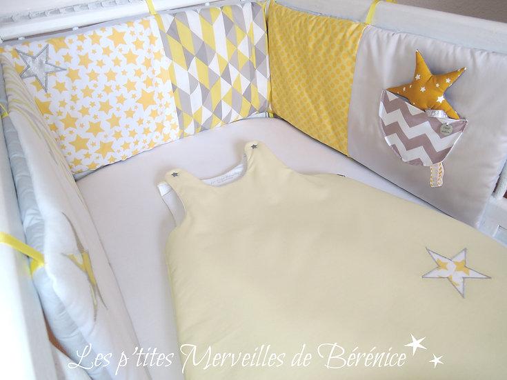 """Gigoteuse 6-12 mois """"motifs géométriques"""" jaune"""