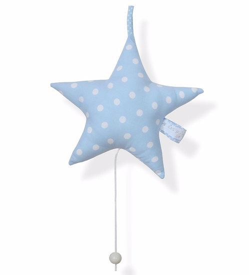 Boîte à musique étoile en tissu bleu clair à pois blancs