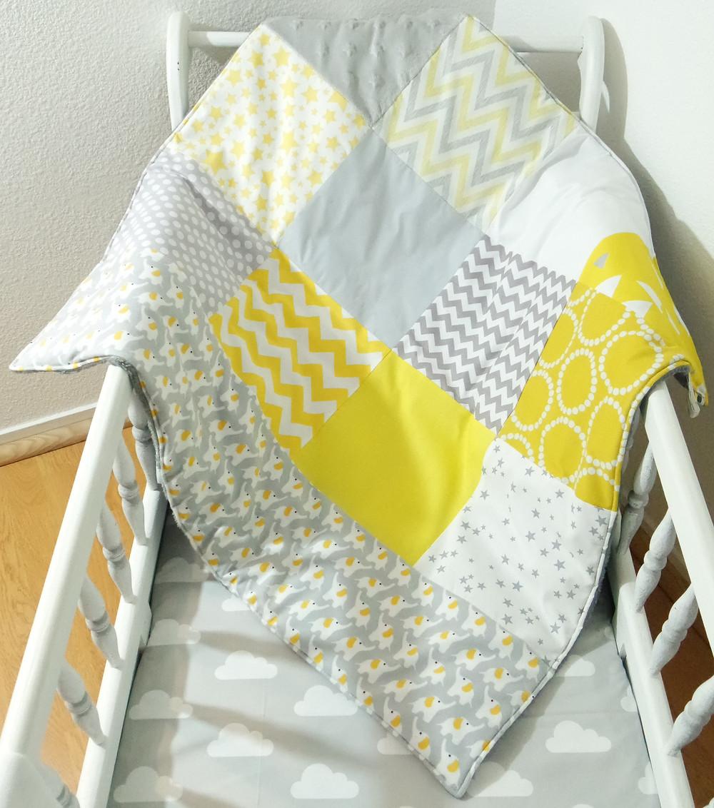 """Couverture bébé """"patchwork"""" jaune, gris, blanc """"king size""""_2"""