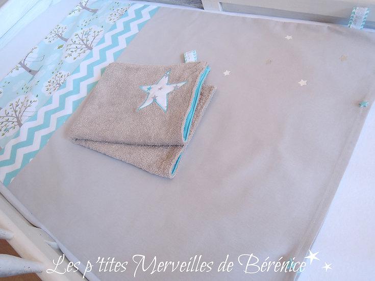 Housse de matelas à langer turquoise, gris, blanc