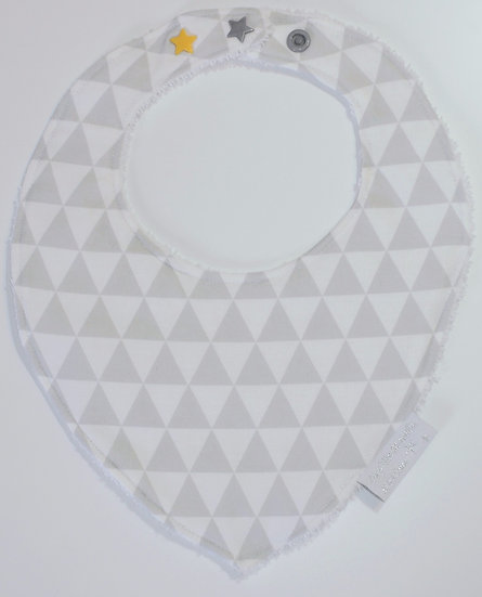 Bavoir bébé bandana triangles gris clairs & blancs