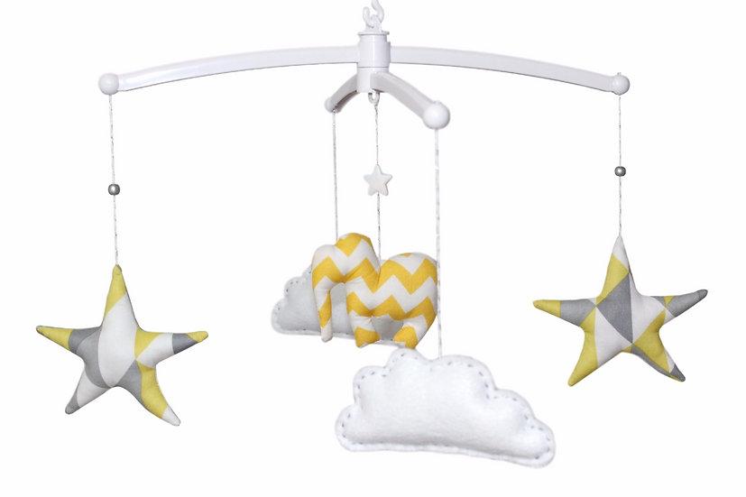 """Mon Joli mobile musical """"Eléphant, étoiles & nuages"""" jaune, gris, blanc, argent"""