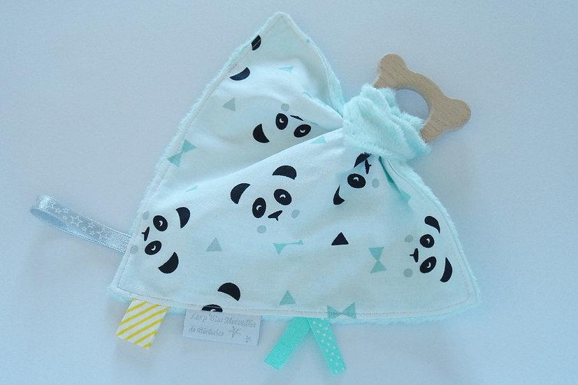 """Doudou étiquettes / anneau de dentition en bois """"mon petit panda"""" mint, blanc"""