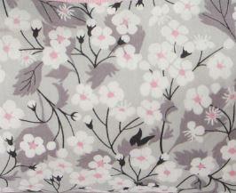 Coussin Liberty gris/rose & velours étoilé
