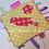 Thumbnail: Doudou étiquettes oiseau rouge, fuchsia, jaune
