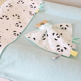 """Collection déco bébé """"Mon petit panda"""" mint, noir, blanc"""