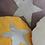 Thumbnail: Coussin rond en lin blanc métalisé étoile argent