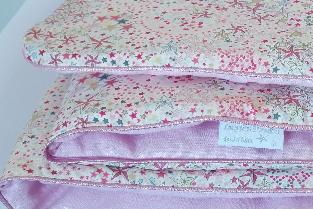 Couverture bébé Liberty Adelajda étoiles roses gris or exclu japonnais et lin rose irisé