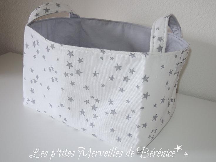 Corbeille panier de rangement étoiles gris / blanc