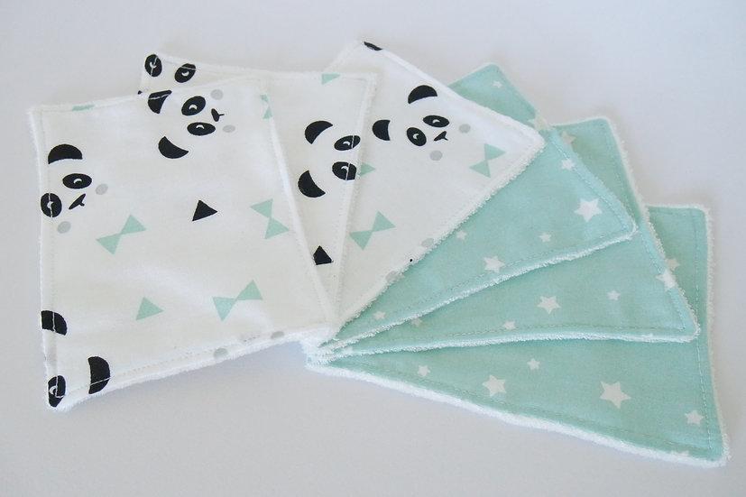 """Lot de 6 lingettes lavables """"pandas et étoiles"""" mint, noir, blanc, coton BIO"""