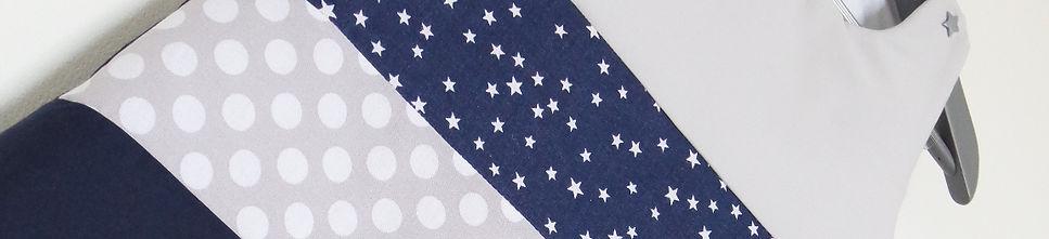 Gigoteuse / turbulette étoiles et pois bleue marine, gris, blanc, argent