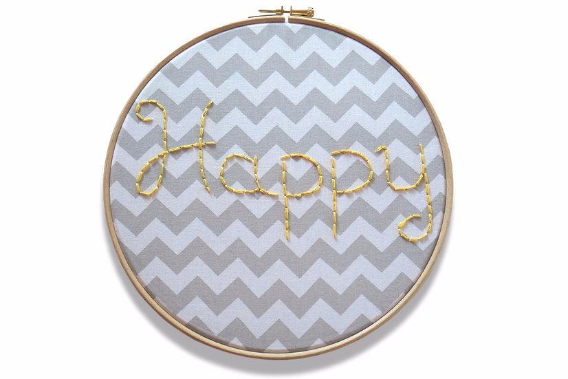 """Cadre bois et tissu """"Happy"""" brodé gris blanc jaune"""