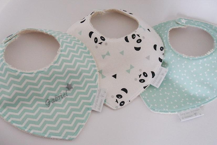 Lot de 3 bavoirs bébé mint / vert d'eau et blanc en coton Bio