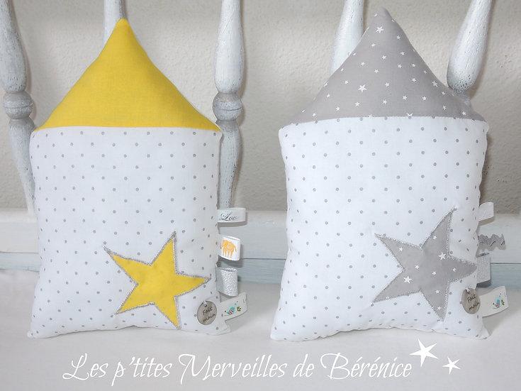 Maisons en tissu étoile jaune & grise pois argent