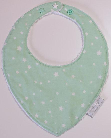 Bavoir bébé mint / vert d'eau étoiles blanches