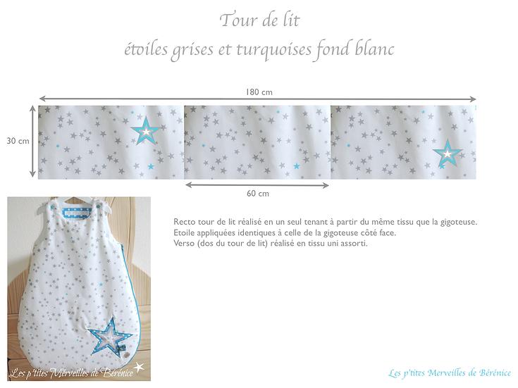 Tour de lit étoiles grises et turquoises
