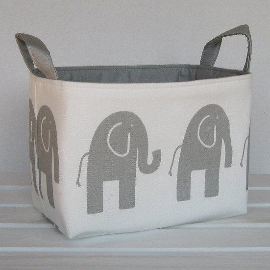 Corbeille de rangement éléphants blanche et grise