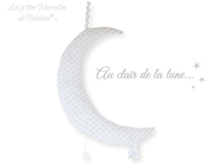 """Boîte à musique """"lune"""" blanche à étoiles argent"""