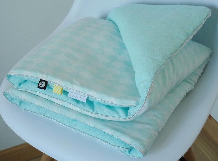 """Couverture bébé """"Losanges"""" coton et lin lavé mint / vert pastel"""