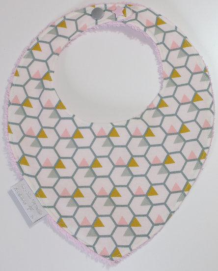 """Bavoir bébé """"géométrique"""" rose, moutarde, gris"""