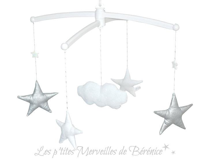 """Mon Joli mobile musical """"Etoiles et nuage"""" argenté"""